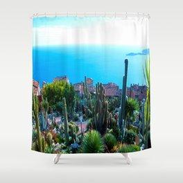 Eze Village Cactus Garden Shower Curtain