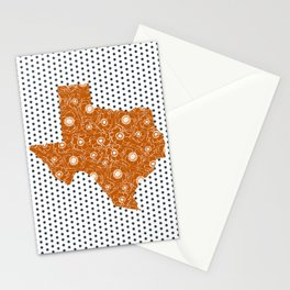 Texan texas longhorns orange and white university college football dots Stationery Cards