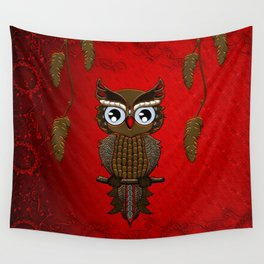Wonderful steampunk owl on red background Wall Tapestry