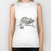 chameleon Biker Tanks featuring Chameleon by Pris Roos