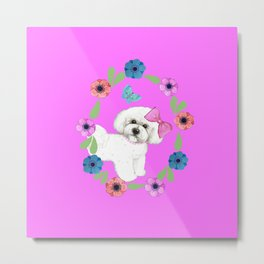 Bichon Frise Dog with butterfly and flowers on pink Metal Print