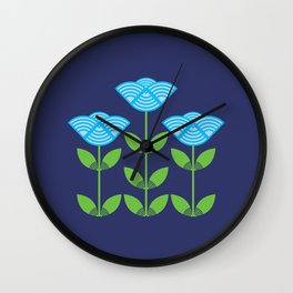 Three Japanese style blue flowers Wall Clock