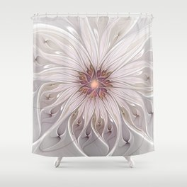 Floral Fantasy, Abstract Fractal Art Shower Curtain