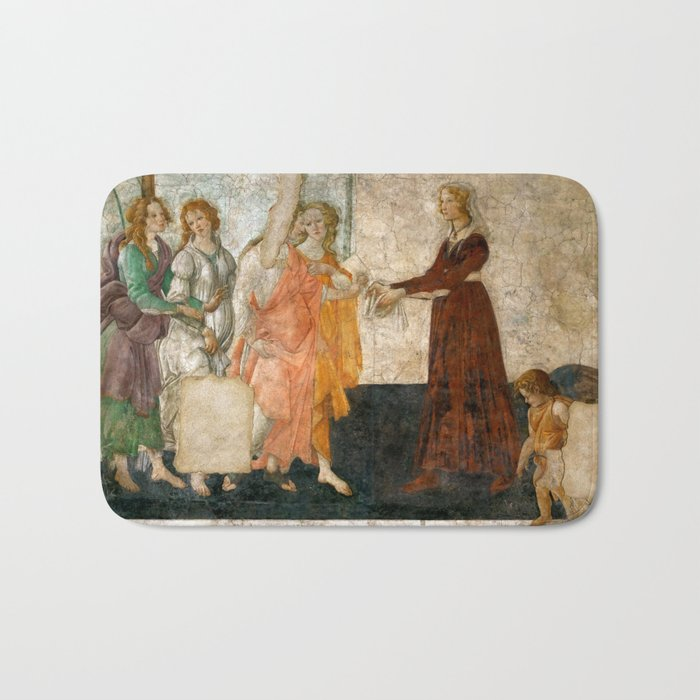 """Sandro Botticelli """"Venus and the Three Graces Presenting Gifts to a Young Woman"""" Bath Mat"""