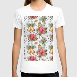 Watercolor traditional Christmas pattern with bells and flowers T-shirt