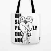 cuddle Tote Bags featuring Cuddle by Natalie Sichko