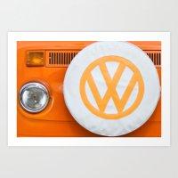 volkswagen Art Prints featuring Volkswagen Orange by Alice Gosling