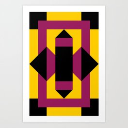 Two purple prisms with black bases coming from a rectangle, which is a table. Yellow pavement. Art Print