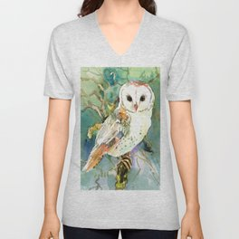 Barn Owl, woodland design owl Unisex V-Neck