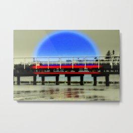 Red Pier- Blue Moon Metal Print