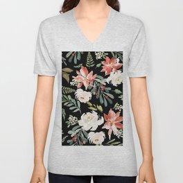 Christmas Poinsettias & White Roses Pattern Unisex V-Neck