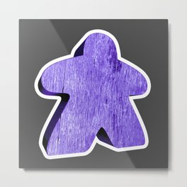 Giant Purple Meeple Metal Print