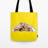 nori Tote Bags featuring Company cuddlepile by quelm