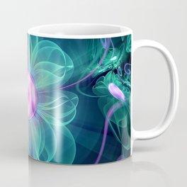 The Enigma Bloom, an Aqua-Violet Fractal Flower Coffee Mug
