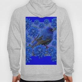 Blue Bird & Blue Flowers Pattern Art Hoody