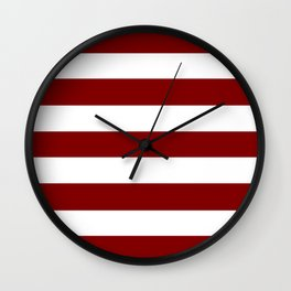 Maroon (HTML/CSS) - solid color - white stripes pattern Wall Clock