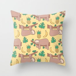 cute cartoon sloth seamless pattern background with exotic leaves, pineapples and bananas Throw Pillow