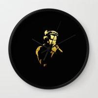 harry styles Wall Clocks featuring Harry Styles by alexandraverena