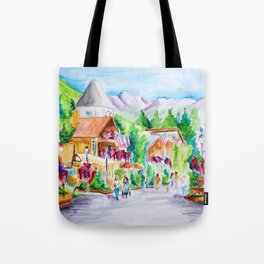 Vail Village Colorado Watercolor Tote Bag