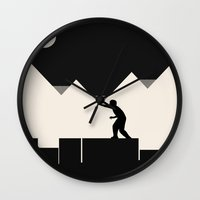 climbing Wall Clocks featuring Climbing out by Tammy Kushnir