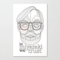 hayao miyazaki Canvas Prints featuring Hayao Miyazaki portrait by Felip Ariza Montobbio