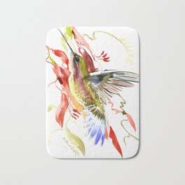 Flying Hummingbird and red tropical foliage Bath Mat