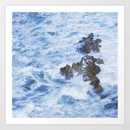 Ocean Surf Crashing on Rocks in Kauai, Hawaii Art Print