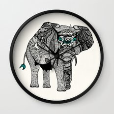 Tribal Elephant Black and White Version Wall Clock