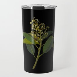 Arbutus Andrachne, Mary Delany Delicate Paper Flower Collage Black Background Floral Botanical Travel Mug