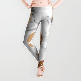 Golden Monstera on Marble Pattern 048 Leggings