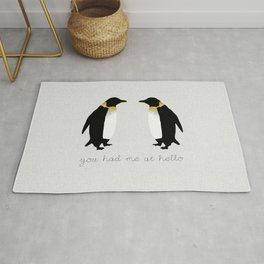 You Had Me At Hello, Penguin Quote, Couples Gift Rug