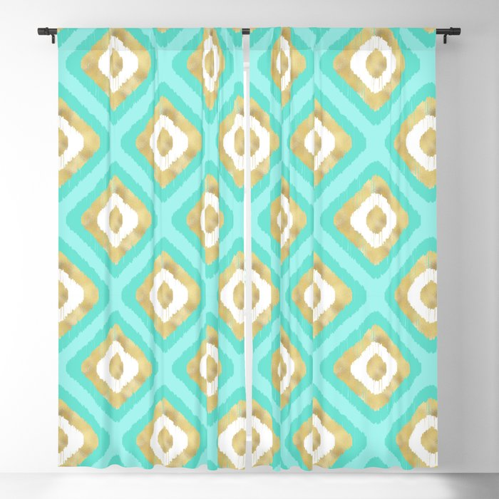 Gold & Turquoise Ikat Pattern Blackout Curtain
