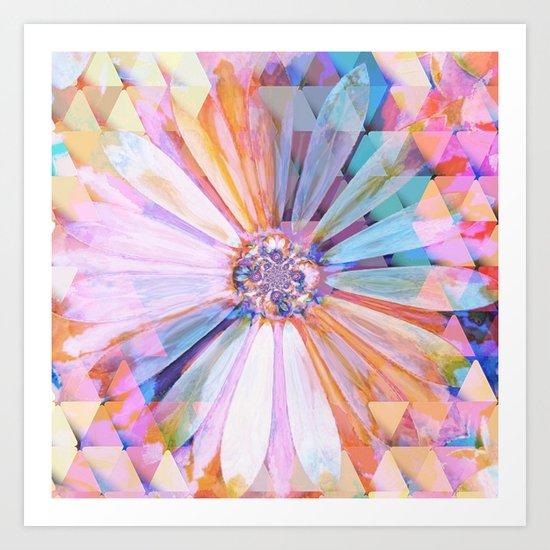 Daisy on Triangles Art Print