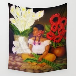 Girl with Calla Lilies and Red Mexican Sunflowers floral portrait painting Wall Tapestry