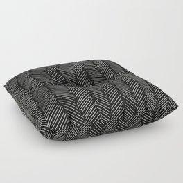 Herringbone Cream on Black Floor Pillow