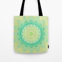 Bright Yellow Aqua Mandala Design Tote Bag