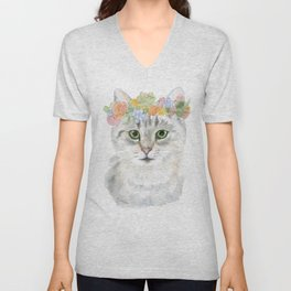 Gray Tabby Cat Floral Wreath Watercolor Unisex V-Neck