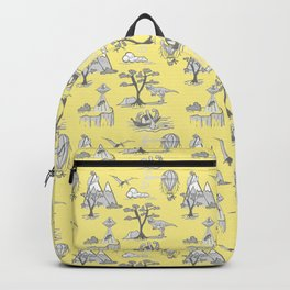 Bad Day Toile Pattern, classic yellow and grey Backpack