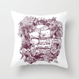Happy Cafe Throw Pillow