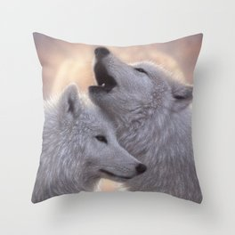 Wolves Howling Moon - Love Song Throw Pillow