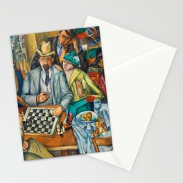Chess Players, Paris, France, French Cafes, Left Bank, 1913 by Henryk Hayden Stationery Cards