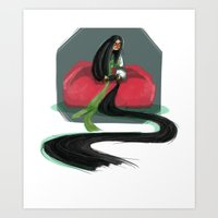 korean Art Prints featuring Korean Rapunzel by Courtney Yu