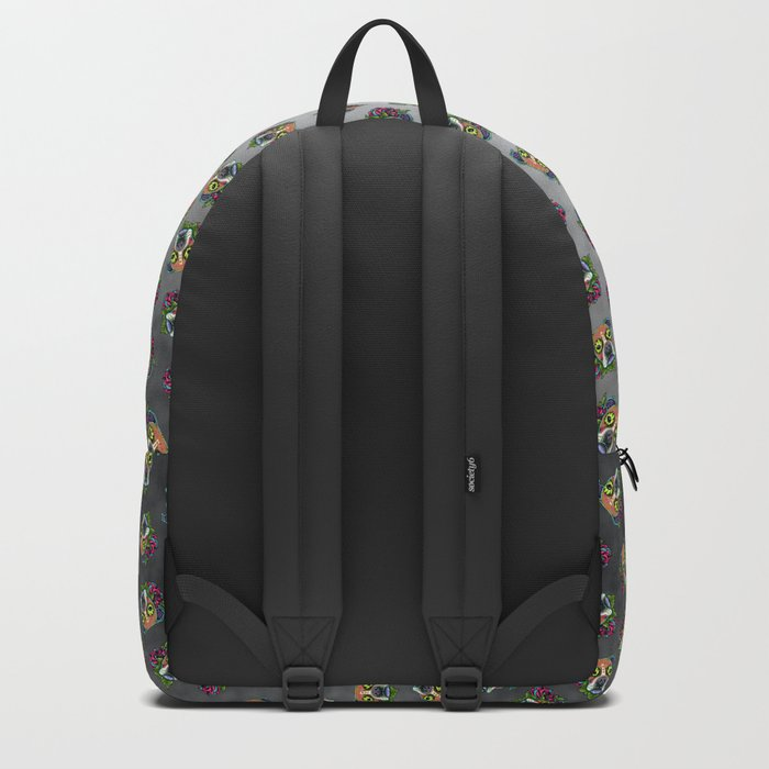 Boxer in White Fawn - Day of the Dead Sugar Skull Dog Backpack