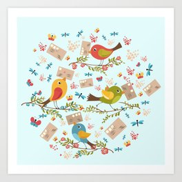 Special Springtime Delivery From Little Birds Pattern Art Print