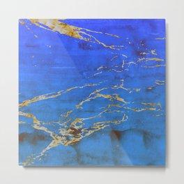 Sky Blue Marble With 24-Karat Gold Nugget Veins Metal Print