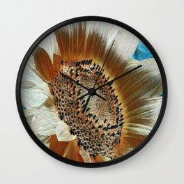Cream Colored Sunflower Wall Clock