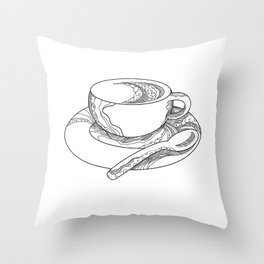 Cup of Coffee Doodle Throw Pillow