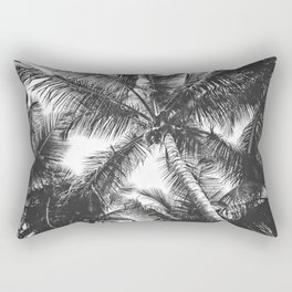 Palm Trees Black and White Rectangular Pillow