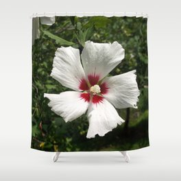 Hibiscus, White Shower Curtain