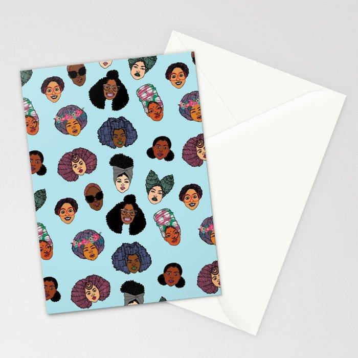 Black Hair Magic - Blue Stationery Cards